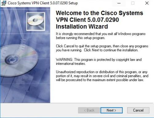 Error While installing Cisco VPN Client