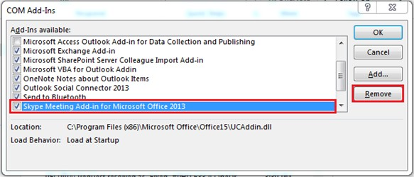 How to Add or Remove Skype meeting add-ins in Outlook2013