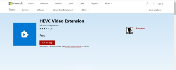 Microsoft removed inbuilt support for HEVC Codec, How to