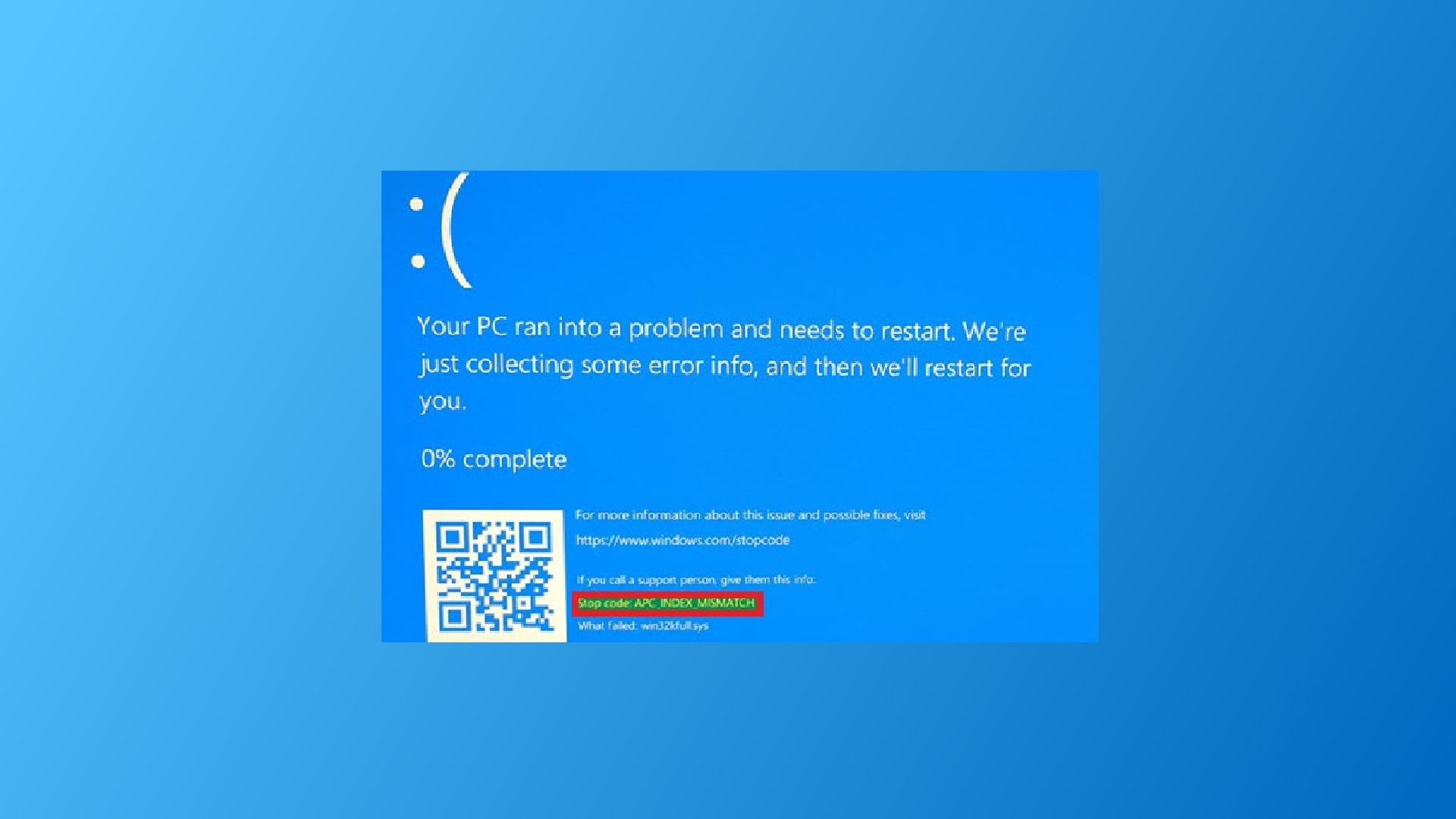 How to fix APC_INDEX_MISMATCH Stop Error on Windows 10