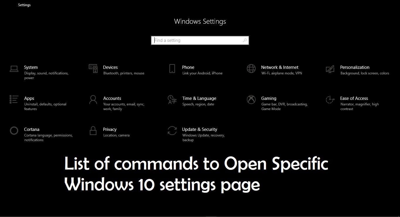 List of commands to Open Specific Windows 10 settings page