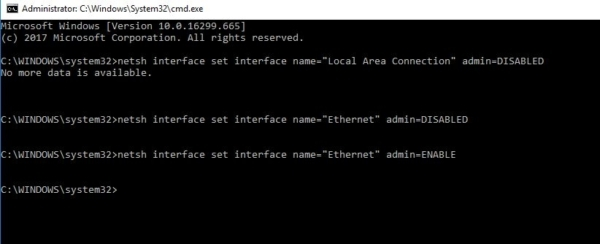Disable LAN connection from CMD