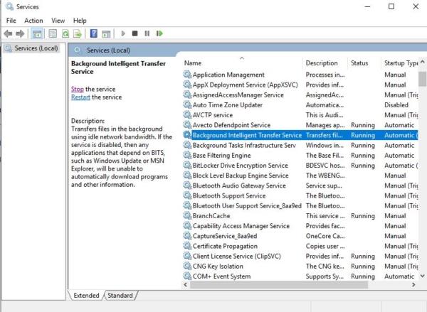 restarting BITS-High CPU and Disk usage