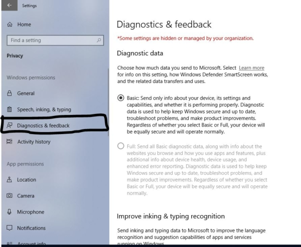 choosing diagnostic and feedback-Disable windows Feedback Notification