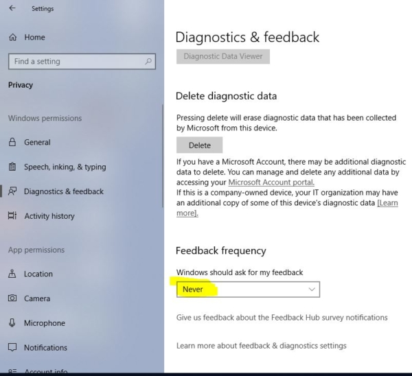 disabling feedback frequency-Disable windows Feedback Notification