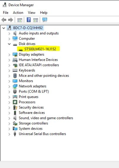 Second Hard Drive Not Detected-Opening the Device manager