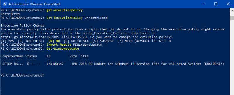 Downloading windows Update using powershell-Windows Update using PowerShell