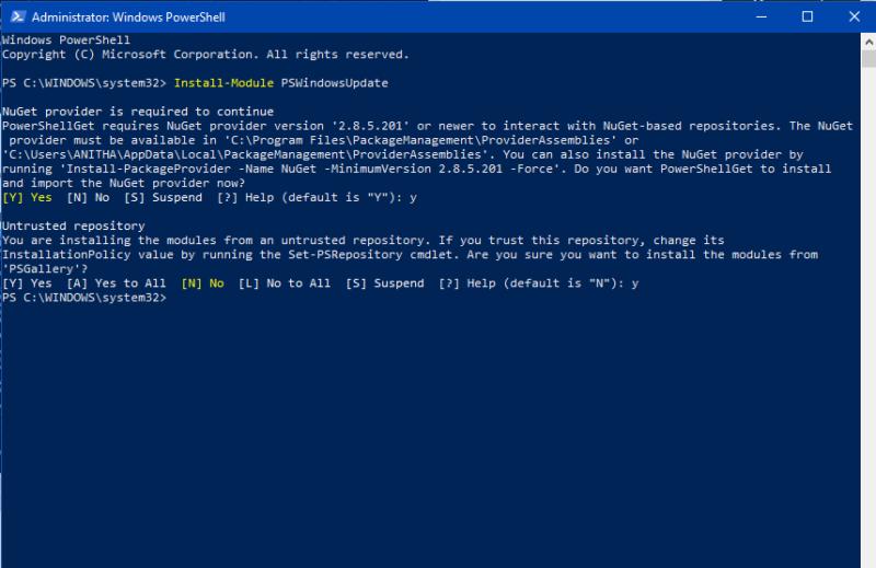 Installing PS Module in Powershell-Windows Update using PowerShell