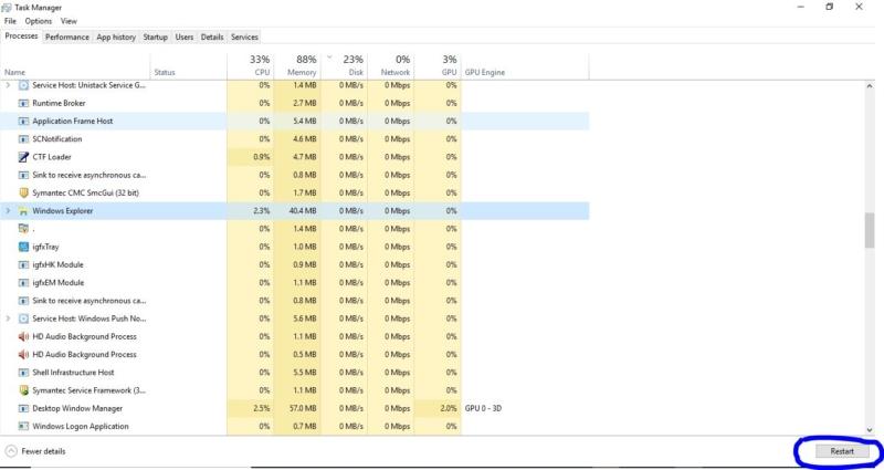 Restrating the windows explorer-Network Icon on Taskbar Missing