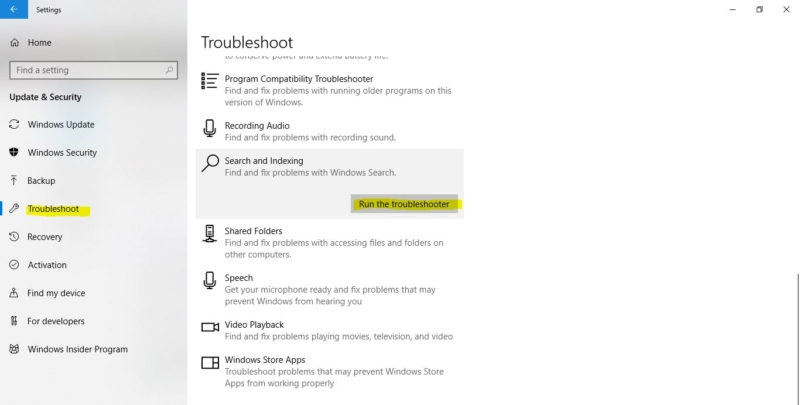 Running the Troubleshooter-Cortana Search not working