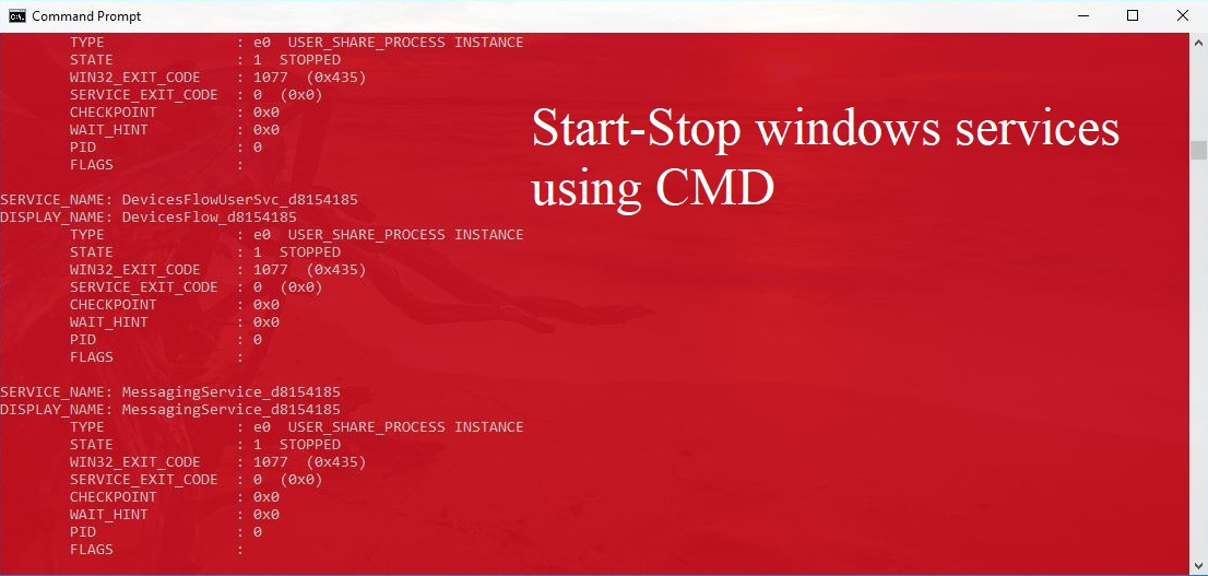 How to Start-Stop windows services using CMD? — Tech Support