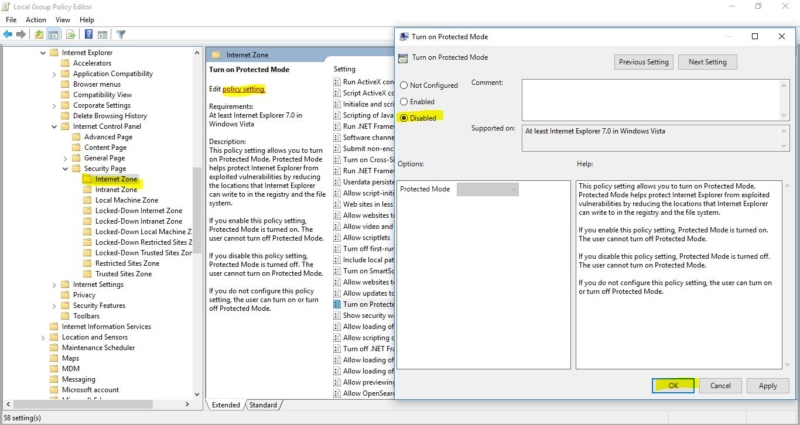 Disabling the Protected Mode-Protected Mode in Internet Explorer