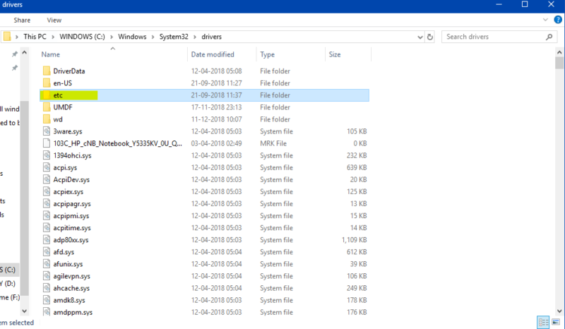 Opening Drivers folder-Block any Website using Host file