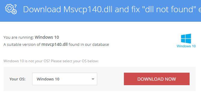 downloading the dll file-msvcp140.dll error