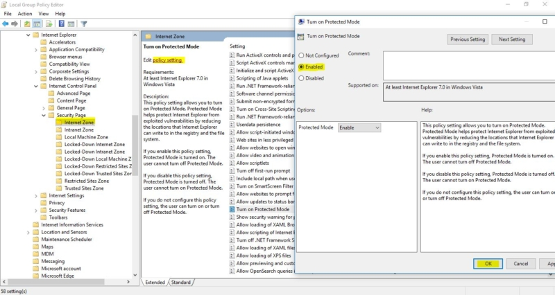 enabling the protected mode-Protected Mode in Internet Explorer