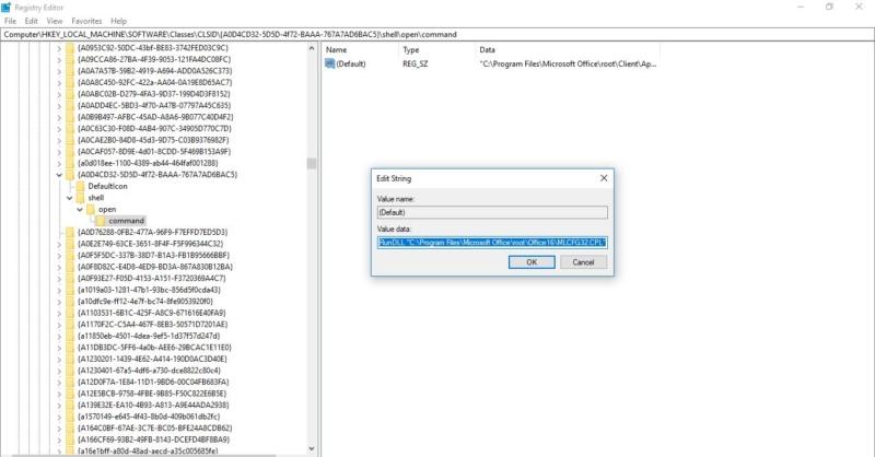 registry edit for command-mail 32 bit