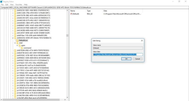 registry edit for defaulticon-mail 32 bit