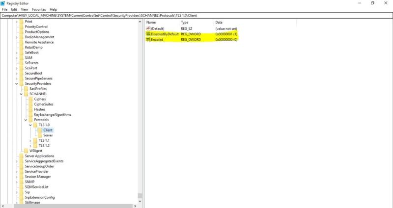 Disable using regedit-Disable TLS Setting