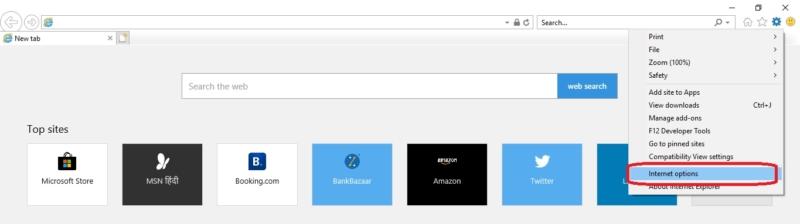 Internet explorer Tools options-Disable TLS Setting