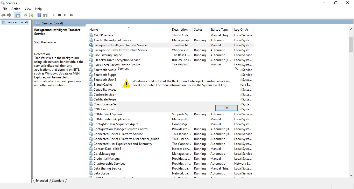 Fix: BITS Service will not start Error code 2147943458 — Tech Support