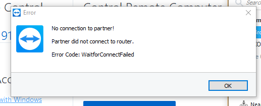 Error Code WaitforConnectFailed