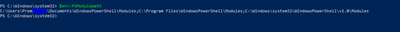 getting the path for importated module-install Azure PowerShell Module
