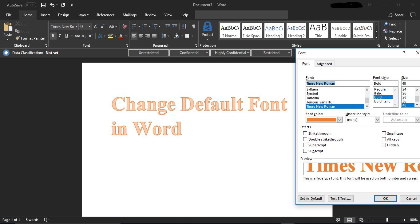 How to Change Default Font in Word office 2016? — Tech Support